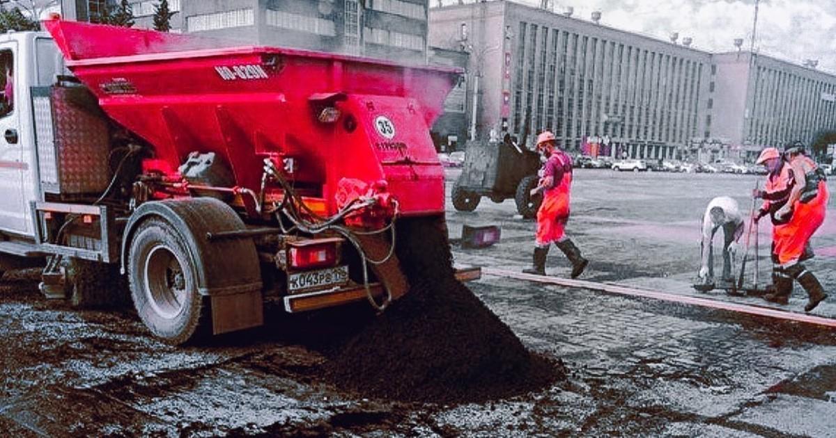 Коммунальщики в Екатеринбурге по ошибке закатали в асфальт граффити знаменитого художника Покраса Лампаса