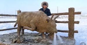 Якутский художник сделал новогоднюю скульптуру быка из навоза - Верблюд в огне