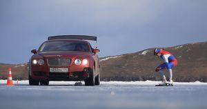 Видео: блогер на коньках посоревновался с Bentley в гонке по льду Байкала